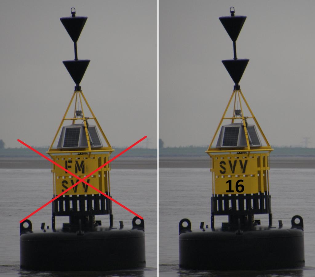 FM-SVV wordt gele boei F60 - rode boei SVV16 wordt Cardinale SVV16 - Foto Georges Janssens